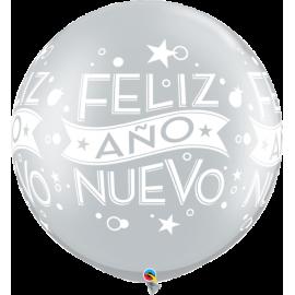 """Feliz Año Nuevo 30"""" Silver 2ct"""