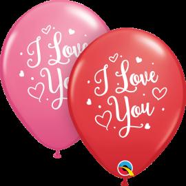 """11"""" I Love You Hearts Script (25 Unid)"""