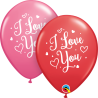 "11"" I Love You Hearts Script (25 Unid)"