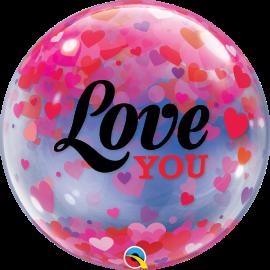 """22"""" Love You Confetti Hearts (Minimo 3 Unid)"""