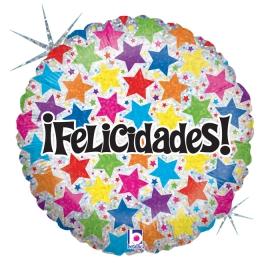 """18"""" Felicidades !! Holographic (Minimo 3 Unid)"""