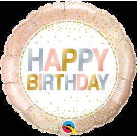 "18"" Birthday Metallic Dots (Minimo 3 Unid)"