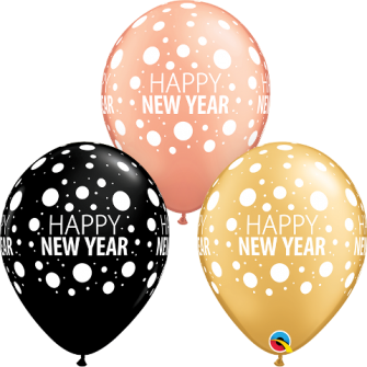 "11"" Happy New Year Dots (25ct ) surtido"