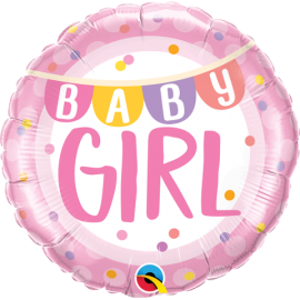 """18"""" Baby Girl Banner & Dots (Minimo 3 Unid)"""