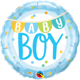"""18"""" Baby Boy l Banner & Dots (Minimo 3 Unid)"""
