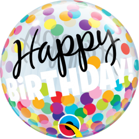 "14"" Happy Birthday Colourful Dots !! Air Bubble (10ct)"