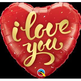 """18"""" I Love You Gold Script (Minimo 3 unid)"""