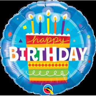 "9""Birthday Cake Blue (Minimo 5 unid) Air-Fill (Termosellado aire)"