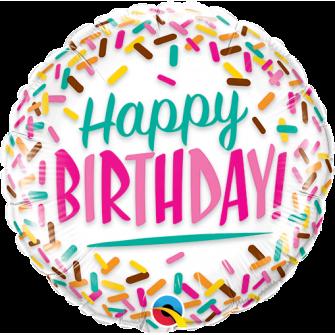 "9""Birthday Sprinkles (Minimo 5 unid) Air-Fill (Termosellado aire)"