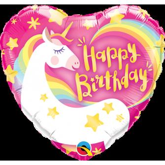 """9"""" Birthday Magical Unicorn (Minimo 5 unid) Air-Fill (Termosellado aire)"""