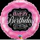 "9"" Birthday Pink & Black (Minimo 5 unid) Air-Fill (Termosellado aire)"