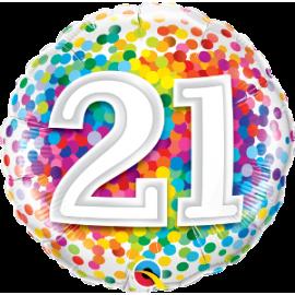 """21 Rainbow Confetti 18"""" (Minimo 3 Unid)"""