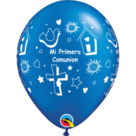"""11"""" Mi Primera Comunión Prl Saphire Blue (50ct)"""