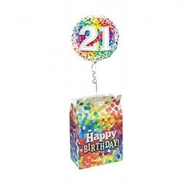 Birthday Rainbow Confetti Balloon (Caja)