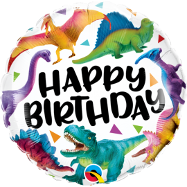 "18"" Birthday Colourful Dinosaurs (Minimo 3 unid)"