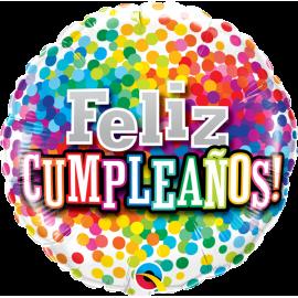 "18"" Feliz Cumpleaños Rainbow Confetti (Minimo 3 unid)"