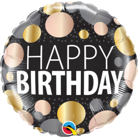 "18"" Birthday big Metallic Dots (Minimo 3 unid)"