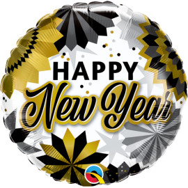 "18"" New Year Black & Gold Fans (Minimo 3 unid)"