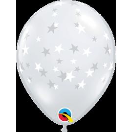 "05"" Contempo Stars (100 unid ) Trasnp- estrellas Blancas"