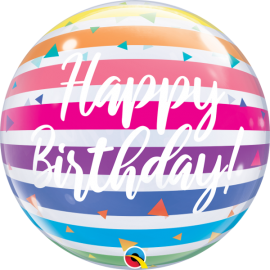"22"" Birthday Brighta Rainbow Stripes (Minimo 3 uni)"