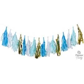 Tassel 2 m Blue- White- Gold (16 Tassel)