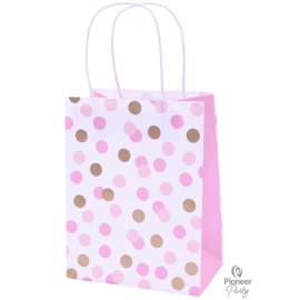 Paper Bag Bolsas Pink & Gold Dots 4ct