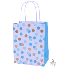 Paper Bag Bolsas Blue & Gold Dots 4ct