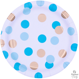 Platos Paper Large 23cm (08ct) Blue& Gold Dots