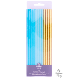 Pajitas- Cañitas Paper Staws Blue & Gold 19cm (24ct)