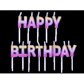 Vela Rose Gold Ombre Happy Birthday Minimo 2 unid