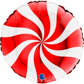 "18"" Swirly White - Red (01Ct) (Mínimo 3 unid.)"