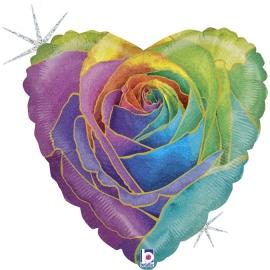 "18"" Rainbow Rose Glitter Holog. (01Ct) (Mínimo 3 Unid.)"