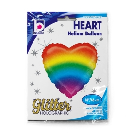 "18"" Glitter Rainbow Heart Holographic (01Ct) (Mínimo 3 Unid.)"