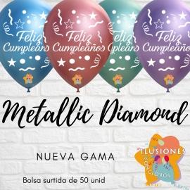 "12"" Feliz Cumpleaños Metallic Diamond (Azul, Verde, Purpura ,Oro Rosa) (50 Unid.)"