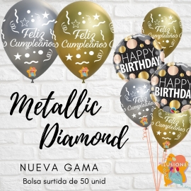 "12"" Feliz Cumpleaños Metallic Diamond (Oro y Plata ) (50 Unid.)"