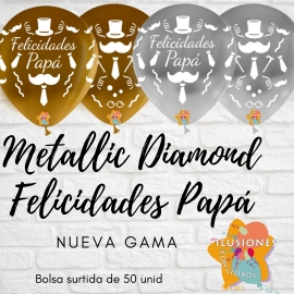 "12"" Fel. Papá M.D Oro y Plata l (50 unid)"