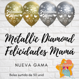 Felicidades Mamá D.M Oro y Plata (50 unid)