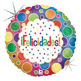 """18"""" Felicidades Bolas Holográfico (01 Ct)"""