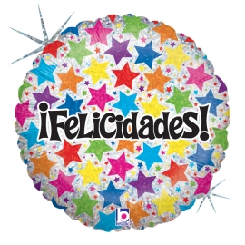 """18"""" Felicidades Estrellas Holográfico (01 Ct)"""