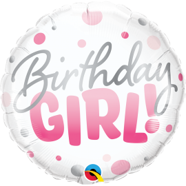 """18"""" Bday Girl Pink Dots (01ct) MiNimo 3 unid"""