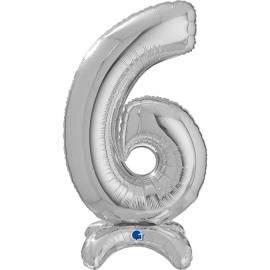 """25"""" Numero 6 Plata (Sólo Aire) 63.5 Cm"""