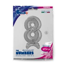 """25"""" Numero 8 Plata (Sólo Aire) 63.5 Cm"""