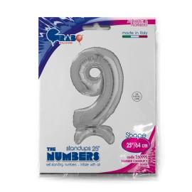 """25"""" Numero 9 Plata (Sólo Aire) 63.5 Cm"""