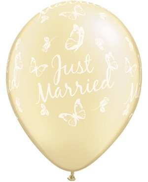 Just Married Butterflies-A-Round Pearl Ivory
