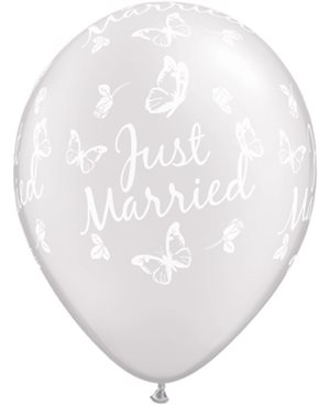 Just Married Butterflies-A-Round Pearl White