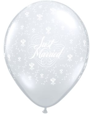 Just Married Flowers-A-Round Diamond Clear